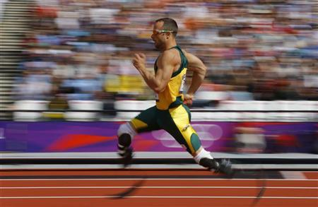 South Africa's Oscar Pistorius competes during round 1 of the men's 400m heats at the London 2012 Olympic Games at the Olympic Stadium