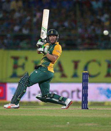 South Africa's Villiers plays a shot during their first Twenty-20 cricket match against India in Dharamsala