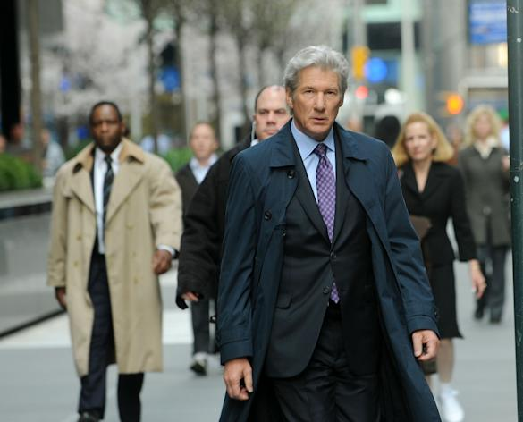 """Actor Richard Gere filming on location for """"Arbitrage"""" on the streets of Manhattan on April 11, 2011 in New York City. (Photo by Bobby Bank/WireImage)"""