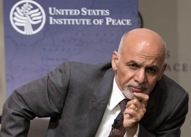 Afghanistan's President Ashraf Ghani listens to a question from the audience at the United States Institute of Peace in Washington, Wednesday, March 25, 2015. A series of diplomatic sources say Af
