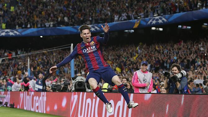 Football: Barcelona's Lionel Messi celebrates scoring their second goal