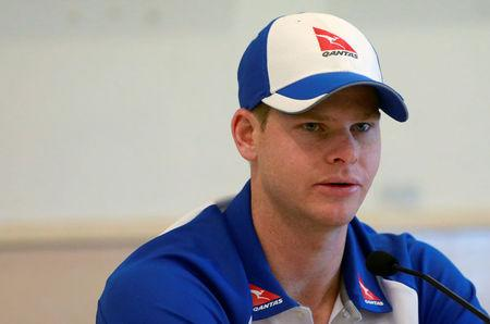 Australian cricket captain Steve Smith speaks at a news conference in Mumbai