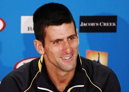 Novak Djokovic of Serbia speaks at a news conference after his men's singles final match at the Australian Open tennis tournament in Melbourne