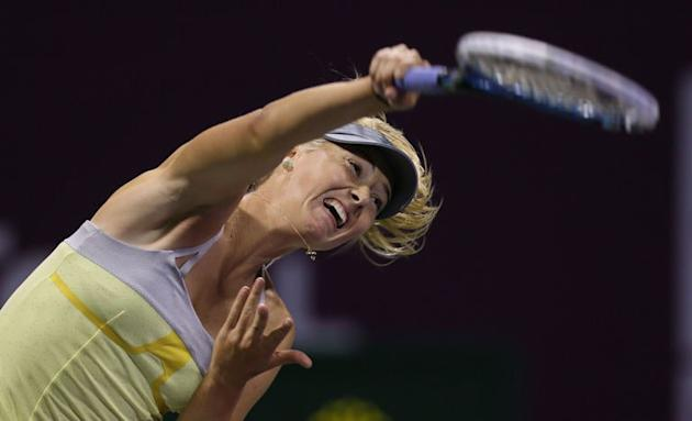 Russian Maria Sharapova serves to Czech Klara Zakopalova during their WTA Qatar Open tennis match on February 14, 2013 in the Qatari capital, Doha. Maria Sharapova sounded like the most prolific romantic of all the female tennis players on Valentine's Day by suggesting that she had many lovers