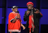 Host Samuel L. Jackson, right, and Spike Lee appear on stage at the BET Awards on Sunday, July 1, 2012, in Los Angeles. (Photo by Matt Sayles/Invision/AP)