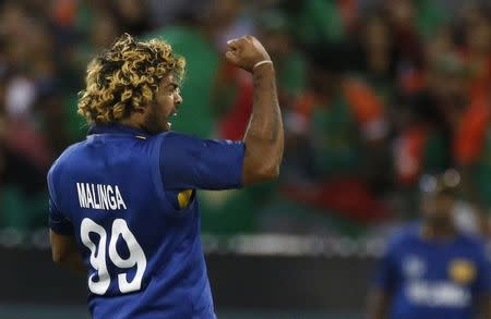 Sri Lanka's Lasith Malinga celebrates taking the wicket of Bangladesh's Taskin Ahmed during their Cricket World Cup match at the MCG in Melbourne