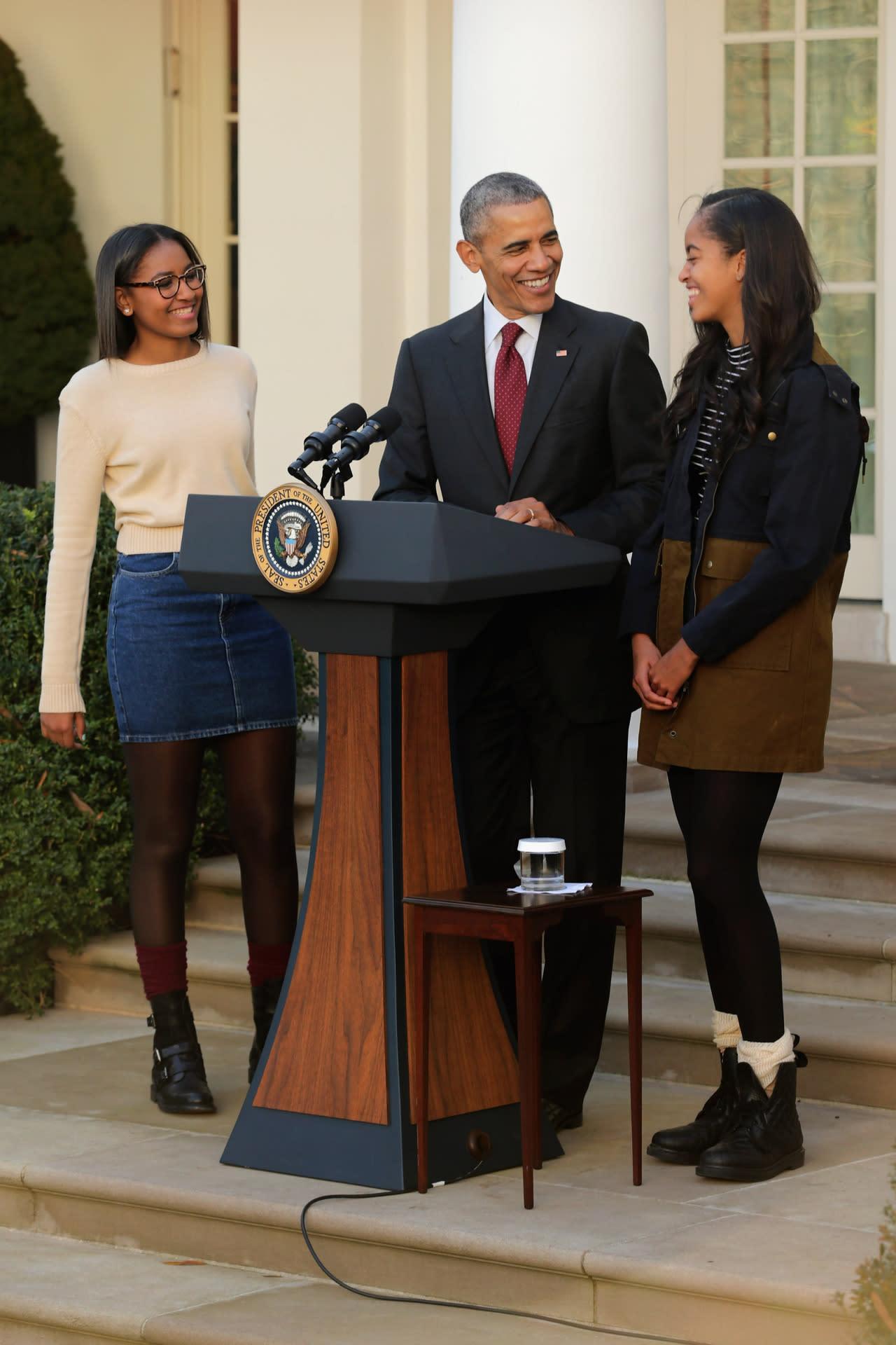 Sasha and Malia join President Obama for the 2015 presidential turkey pardon