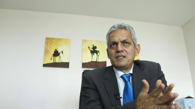 Ecuador's national soccer team coach Rueda attends an interview with Reuters in Quito
