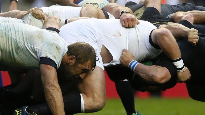 England's Robshaw takes part in a scrum during their international rugby union match against Argentina at Twickenham in London