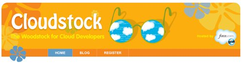 Cloudstock event logo showing 60's sunglasses with clouds and tech info