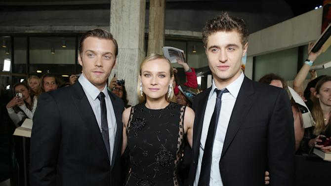 Jake Abel, Diane Kruger and Max Irons at Open Road Films Los Angeles Premiere of 'The Host' held at the ArcLight Hollywood, on Tuesday, March, 19, 2013 in Los Angeles. (Photo by Eric Charbonneau/Invision for Open Road Films/AP Images)