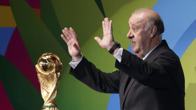 Bosque gestures during the draw for the 2014 World Cup in Sao Joao da Mata