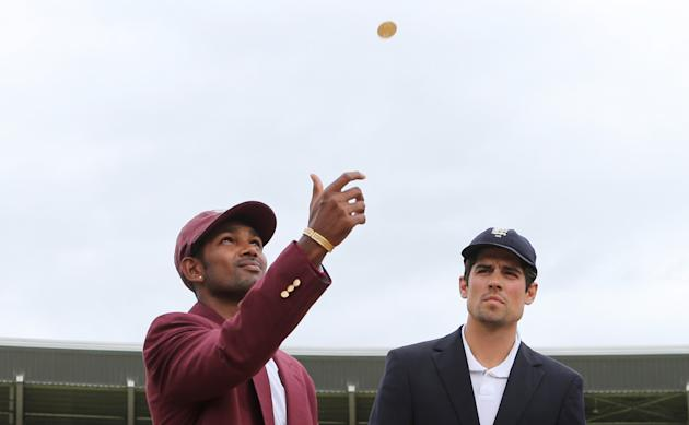 Cricket: England's Alastair Cook and West indies' Denesh Ramdin during the coin toss