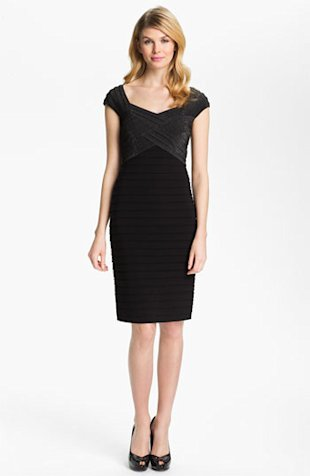 Adrianna Papell Metallic Pleated Sheath Dress