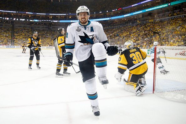 PITTSBURGH, PA - JUNE 09: Logan Couture #39 of the San Jose Sharks celebrates after scoring a goal against Matt Murray #30 of the Pittsburgh Penguins during the first period in Game Five of the 2016 NHL Stanley Cup Final at Consol Energy Center on June 9, 2016 in Pittsburgh, Pennsylvania. (Photo by Justin K. Aller/Getty Images)
