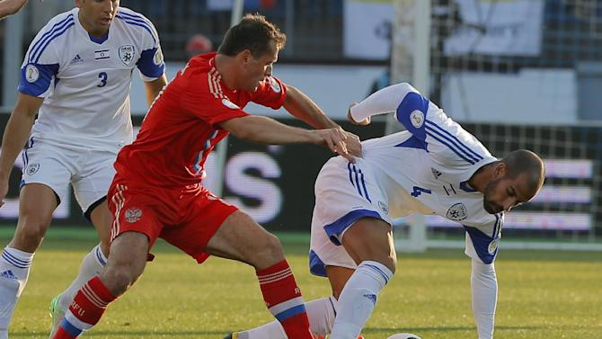 Russia's Aleksandr Kerzhakov, right, fights for the ball with Israel's Gal Alberman during the World Cup group F qualifying soccer match between Russia and Israel in St.Petersburg, Russia, Tuesday, Sept. 10, 2013