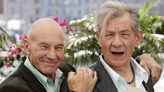 "FILE - This May 22, 2006 file photo shows actors Patrick Stewart, left, and Ian McKellen during a photo call for the film ""X-Men: The Last Stand,"" at the 59th International film festival in Cannes, southern France. McKellen and Patrick Stewart will team up on Broadway this fall in two of the most iconic plays of the 20th century. Producers said Thursday, Jan. 24, 2013, that Stewart and McKellen will star in Harold Pinter's ""No Man's Land"" and Samuel Beckett's ""Waiting for Godot"" in repertoire under the direction of Sean Mathias. The theatre, performance dates and schedule will be announced later. (AP Photo/Jeff Christensen, file)"