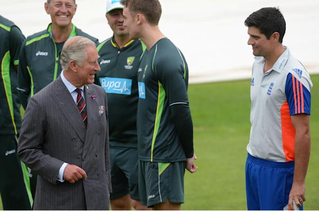 CRIC ROY ENT: Britain's Prince Charles talks to England's Alastair Cook during a training session