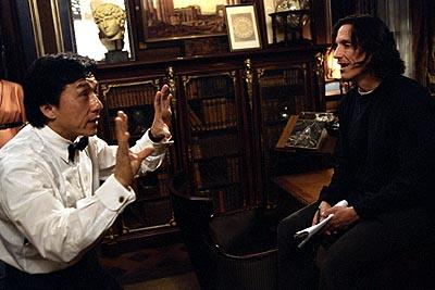 Jackie Chan and director Kevin Donovan on the set of Dreamworks' The Tuxedo