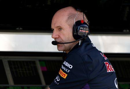Red Bull Formula One technical chief Newey speaks on the radio during the second practice session of the Australian F1 Grand Prix in Melbourne