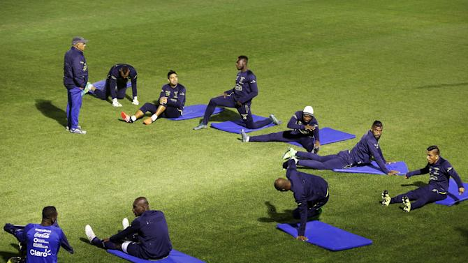 Ecuador's soccer players take part in a training session ahead of their upcoming 2018 World Cup qualifying soccer match against Argentina, in Buenos Aires