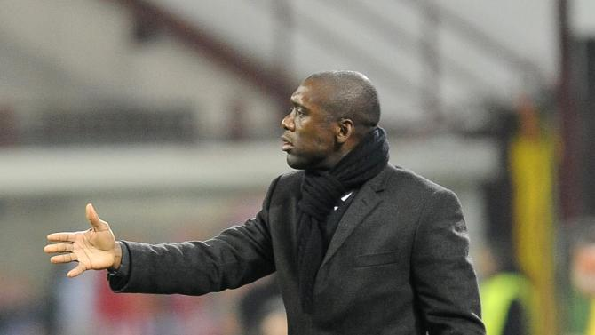 AC Milan's coach Seedorf reacts during their Italian Serie A soccer match against Bologna in Milan
