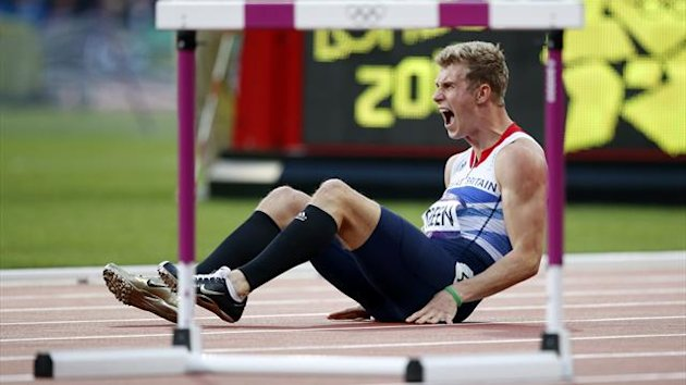 Britain's Jack Green screams after falling during his men's 400m hurdles semi-final at the London 2012 Olympic Games (Reuters)