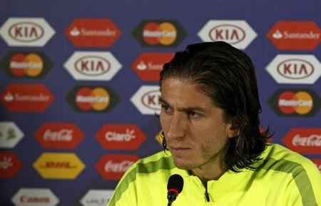 Brazil's soccer player Filipe Luis attends a press conference at Estadio Ester Roa in Concepcion