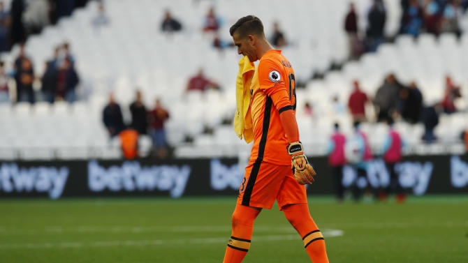 West Ham United's Adrian looks dejected at the end of the match