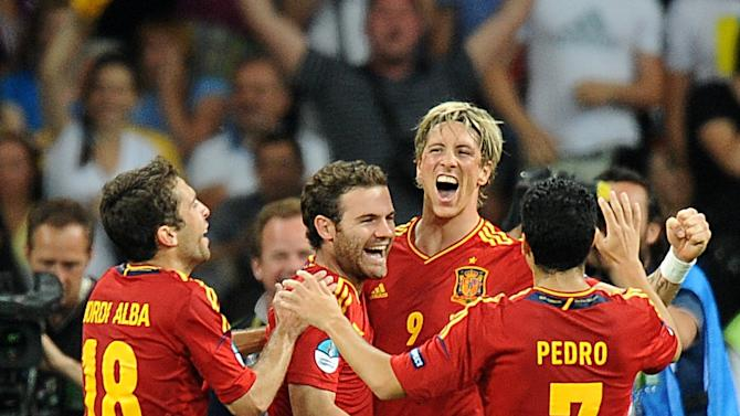 David Silva, Jordi Alba (left), Juan Mata (centre) and Fernando Torres (second right) scored as Spain claimed European Championship glory