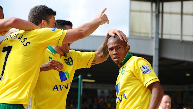Simeon Jackson, right, was on target for Norwich