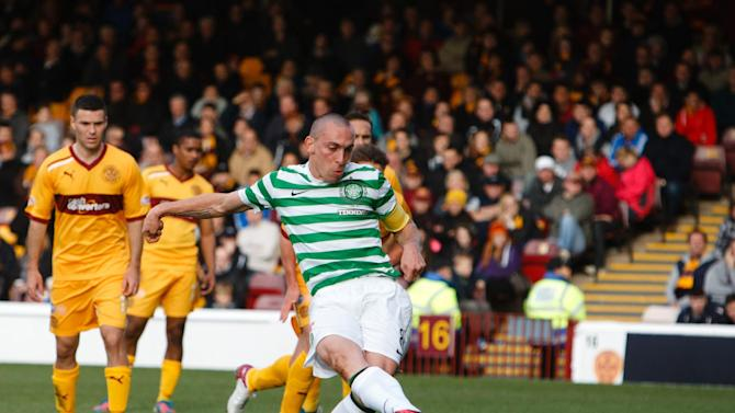 Scott Brown's, pictured, penalty was saved by Motherwell keeper Darren Randolph
