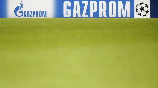 An advertising banner for Gazprom is seen after Champions League soccer match between Schalke 04 and Basel in Basel