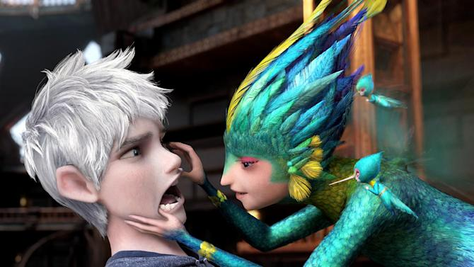 "This image released by Paramount Pictures shows Jack Frost, voiced by Chris Pine, left, and Tooth, voiced by Isla Fisher in a scene from ""Rise of the Guardians.""  (AP Photo/Paramount Pictures, DreamWorks Animation)"