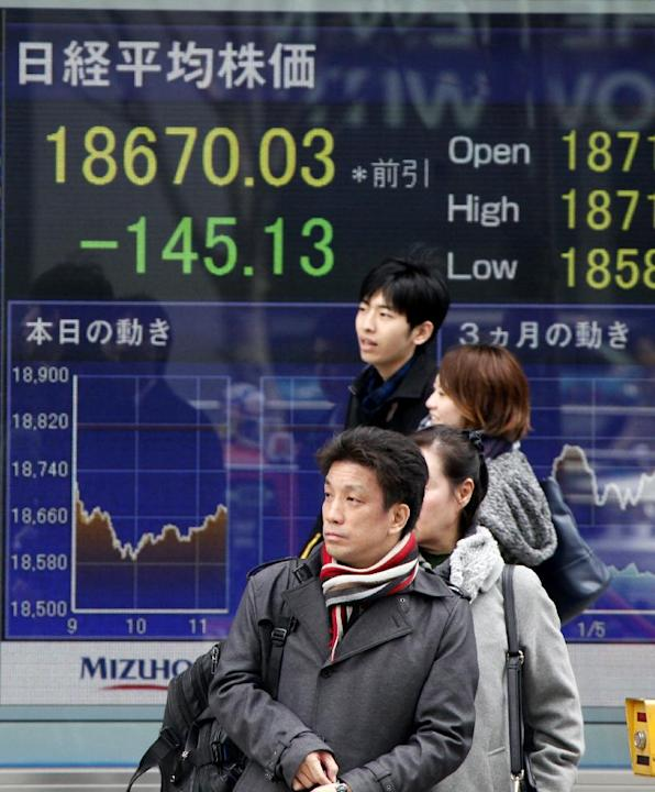 Passersby wait to cross a street in front of Japan's Nikkei stock index displayed on an electronic board in Tokyo, Wednesday, March 4, 2015. Asian stock markets were mostly lower Wednesday after W
