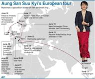Graphic showing Aung San Suu Kyi's updated European tour itinerary