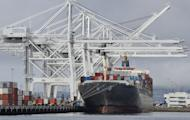 A cargo ship stands on Long Beach harbour, California, on April 26, 2012. The US trade deficit increased more than expected in May as exports fell, accoring to the Commerce Department