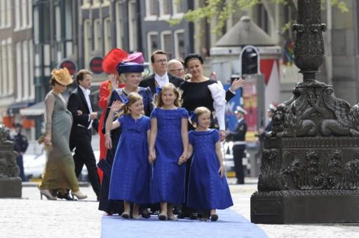 Princess Beatrix (L), her grand daughters Princess Ariane, Catharina-Amalia Princess of Orange and Princess Alexia (L-R) and Princess Mabel of Orange-Nassau arrive on April 30, 2013 at the Nieuwe Kerk
