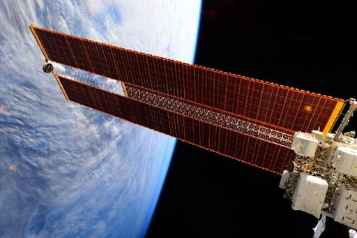 The giant solar arrays on the International Space Station photographed in February 12, 2015 and released by the ESA and NASA