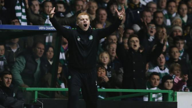 Celtic's manager Neil Lennon reacts during their Champions League soccer match against AC Milan in Celtic Park Stadium, Glasgow