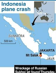 Map showing the Salak mountain in Indonesia where the wreckage of a Russian Sukhoi jet was found on Thursday