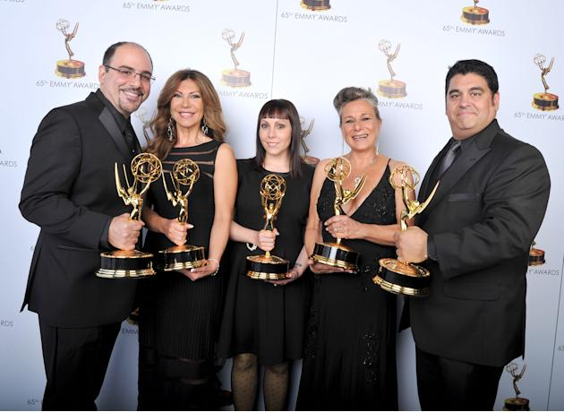 From left, Louie Zakarian, Daniela Zivkovic, Amy Tagliamonti, Melanie Demetri, and Josh Turi pose for a portrait at the 2013 Primetime Creative Arts Emmy Awards, on Sunday, September 15, 2013 at Nokia