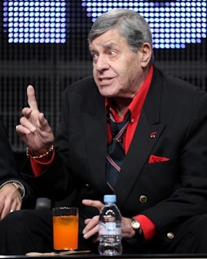 "Jerry Lewis speaks during ""The Method to the Madness of Jerry Lewis"" panel during the Encore portion of the 2011 Summer TCA Tour held at the Beverly Hilton Hotel, Beverly Hills on July 28, 2011 -- Getty Images"