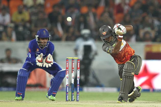 Hanuma Vihari of Sunrisers Hyderabad hits over the top during match 68 of the Pepsi Indian Premier League between The Sunrisers Hyderabad and The Rajasthan Royals held at the Rajiv Gandhi Internationa