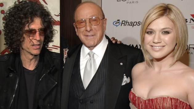Howard Stern, Clive Davis and Kelly Clarkson -- Getty Images