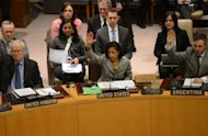 US ambassador to the UN Susan Rice (C) votes with UN Security Council members to adopt sanctions against North Korea at the United Nations headquarters in New York, March 7, 2013. The UN Security Council on Thursday imposed new sanctions against North Korea amid escalating tensions as the North threatened a pre-emptive nuclear strike against the United States.