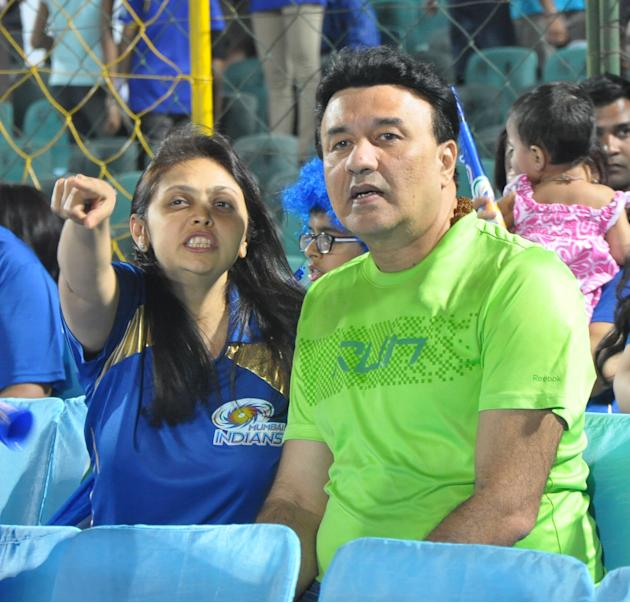 Music director Anu Malik and Nita Ambani during the match between Rajasthan Royals and Mumbai Indians at Swai Mansingh Stadium, Jaipur on April 17, 2013. (Photo: IANS)