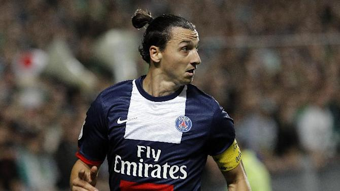 Paris Saint Germain's Zlatan Ibrahimovic looks on during their French League One soccer match against Saint-Etienne, in Saint-Etienne, central France, Sunday Oct. 27, 2013
