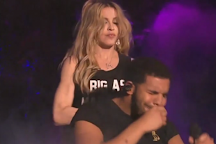 Drake didn't appear to be thrilled with the kiss he received from Madonna.