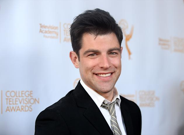 Max Greenfield poses on the red carpet at the 35th College Television Awards, presented by the Television Academy Foundation at The Leonard H. Goldenson Theatre in the NoHo Arts District on Wednesday,